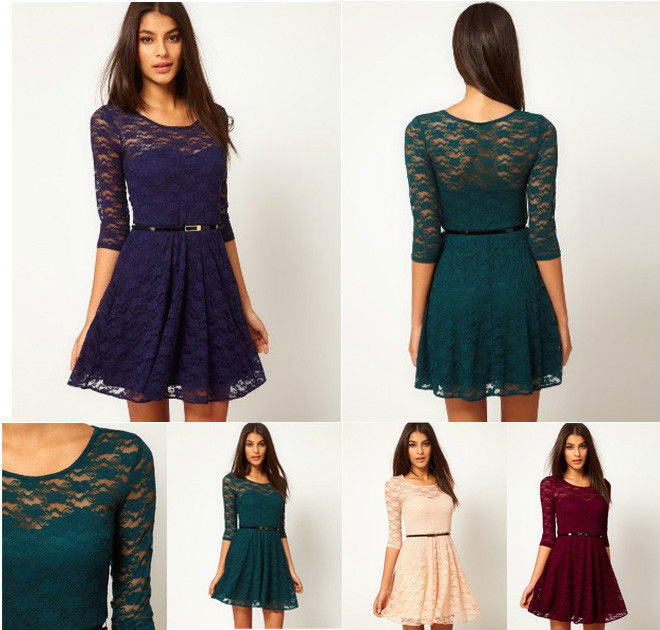 Hot Spring Summer Sexy Lady Round Neck Lace Slim Cocktail Party Women Mini Dress | eBay