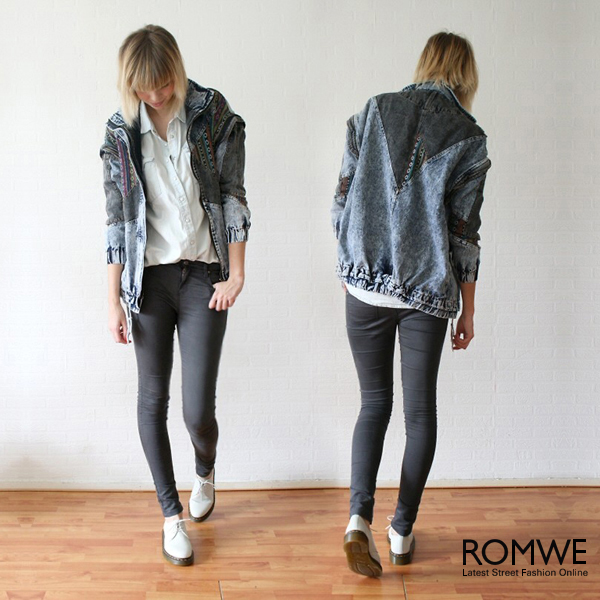 ROMWE | Oversized Aztec Denim Coat, The Latest Street Fashion