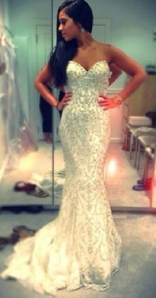 Dress White Pearl Sparkle Prom Dress Prom Long Fishtail Happy Sweetheart Neckline