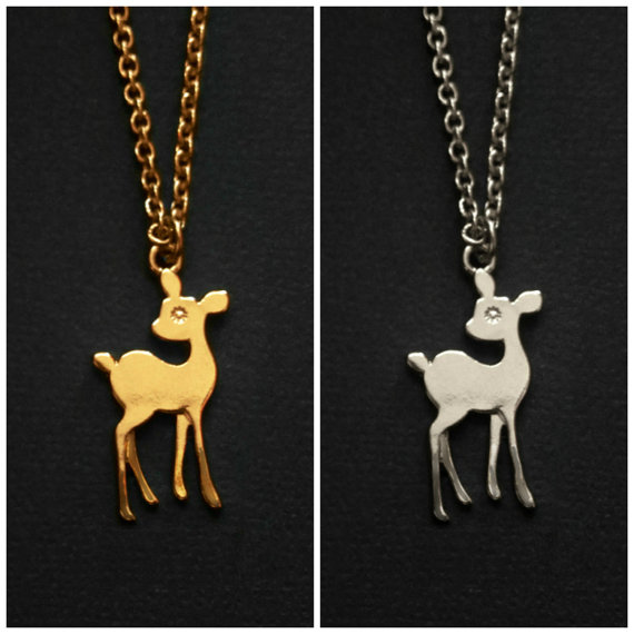 Gold & Silver Bambi Necklace by Amourology on Etsy
