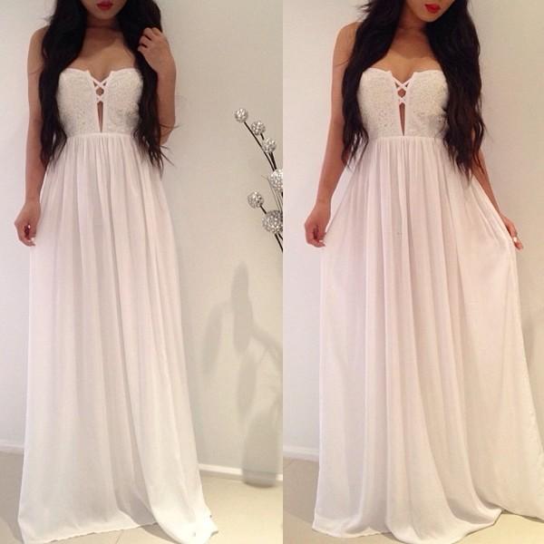 Dress: white, flowy, long, maxi dress, white dress - Wheretoget