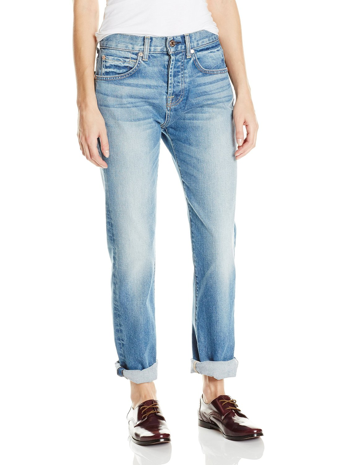 7 for all mankind women's 1984 boyfriend jean in super heritage light blue at amazon women's clothing store: