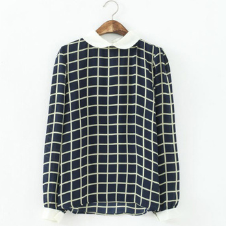 blouse lattice top lattice blouse chiffon blouse plaid blouse white collar checkered squared blouse