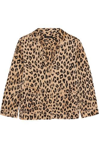 shirt print silk leopard print neutral top