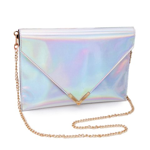 Trendy women's shoulder bag with solid color and chain design (silver)