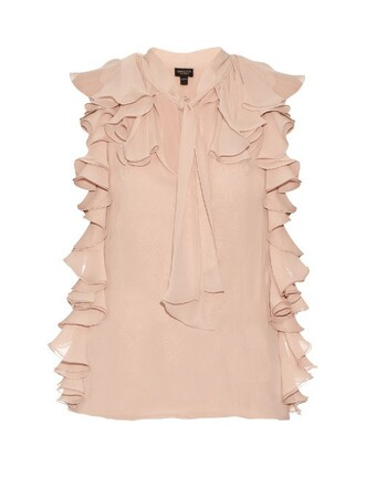blouse ruffle silk light pink light pink top