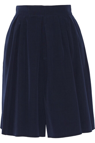 shorts pleated wool navy