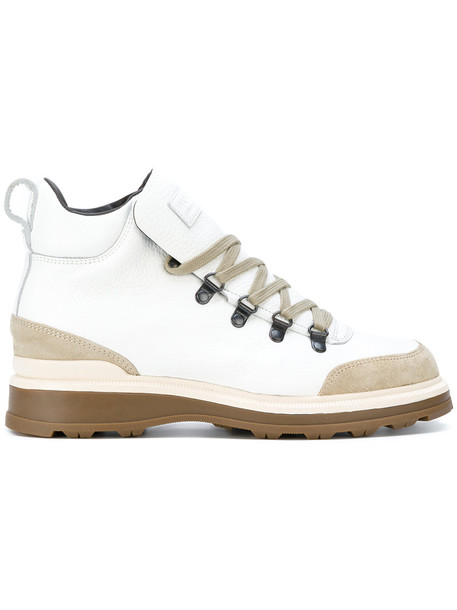Woolrich women boots lace leather white shoes