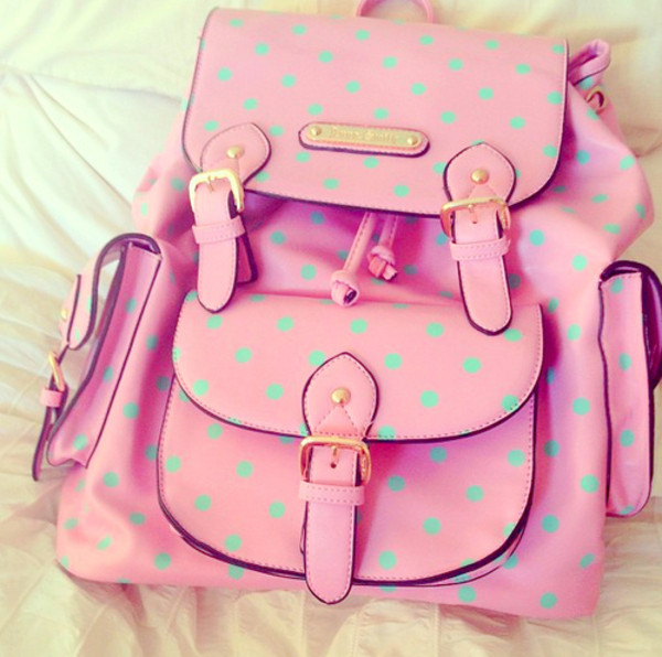 hat backpack clothes style pink beautiful accessories bag polka dots polka dots green girly hipster cute lovely messenger bag school bag colorful color/pattern blue candy girl girl fave myfav lovethis mint romper bookbag designer