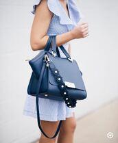 bag,tumblr,blue bag,handbag,dress,mini dress,blue dress,stripes,striped dress,ruffle,ruffle dress,summer dress