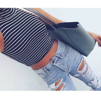 t-shirt crop tops stripes boyfriend jeans outfit turtleneck black and white