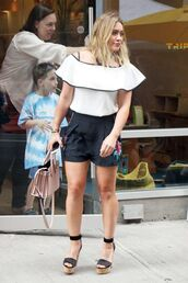 blouse,shorts,sandals,hilary duff,ruffle,summer,summer outfits,shoes,off the shoulder,retro vibe ruffled top in white,high heel sandals,platform sandals,ruffled top
