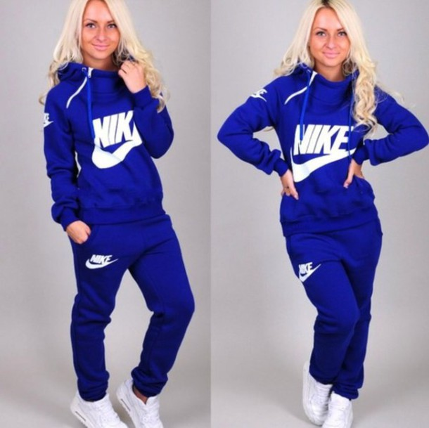 Jumpsuit: nike, collar, zip, blue, sweater, hoodie, hood, jacket ...