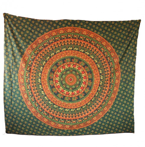 Green Elephant Printed Mandala Tapestry - HandiCrunch.com