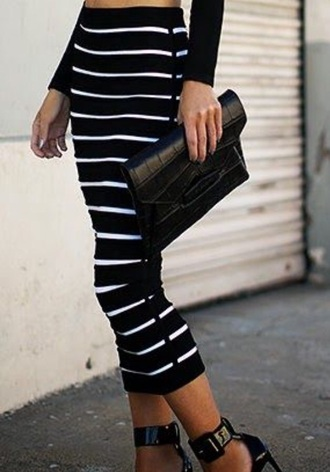 skirt navy black skirt pin stripes striped skirt midi skirt maxi skirt fitted skirt high waisted skirt