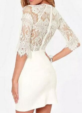 white dress www.ustrendy.com lace top dress lace sleeves sheer lace back lace splicing
