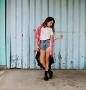 views of now,blogger,denim shorts,white t-shirt,kimono,top,shorts,shoes