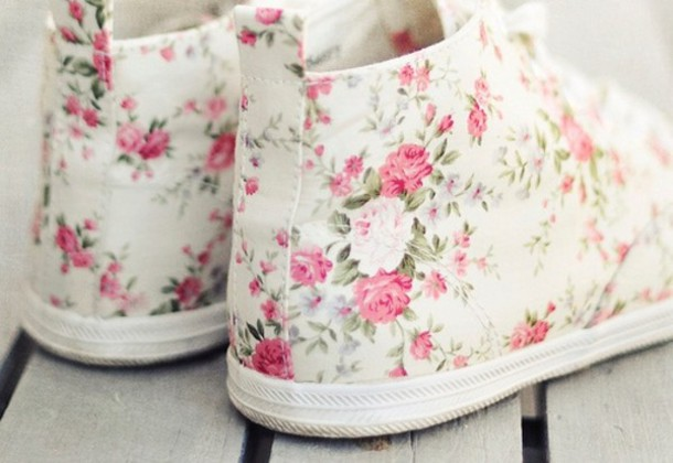 06c7d9385acec3 shoes flowers high top sneakers converse white pink beautiful clothes cute  pretty floral floral shoes ankle