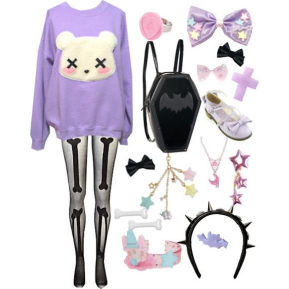 sweater jumper sweatshirt tights leggings bows bow ring headband stars star lolita gothic goth oversized sweater spiked headband pastel goth