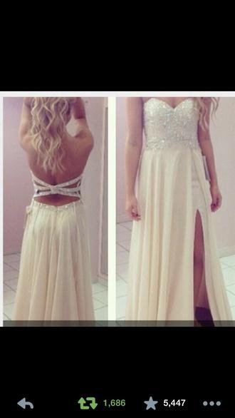 dress cream prom dress cream dress open back dresses open back prom dress shoes coat top