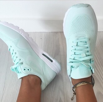 shoes nike nike air nike running shoes mint women blue sneakers fitness
