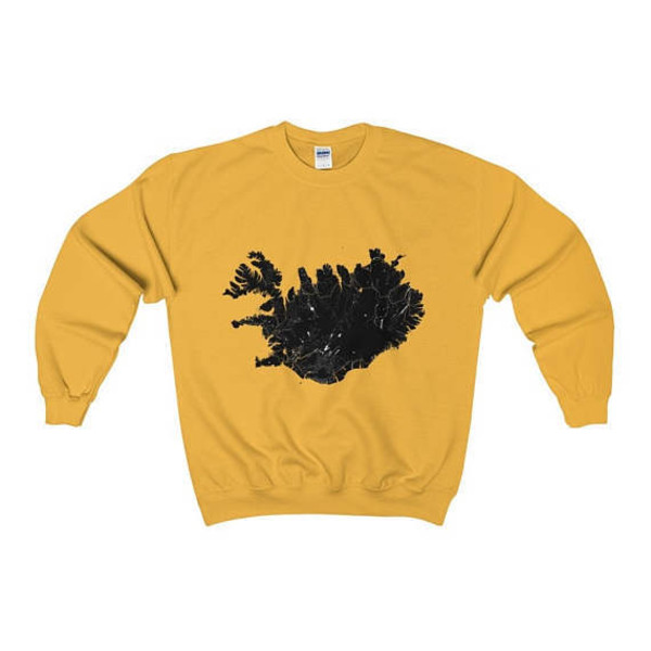 sweater travel iceland style sweatshirt unisex clothes gold yellow map print printed sweater travelers trendy trendy t-shirt