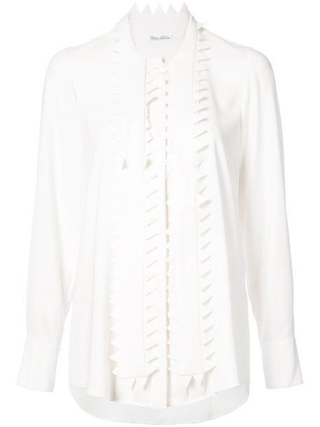 shirt women embellished white silk top