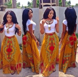 skirt golden brown red green skirt african print maxi skirt black girls killin it