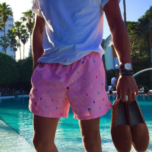 shorts pink icecreams shoes shirt white