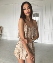 romper,sequins,date outfir,tumblr,gold sequins,watch,silver watch,necklace,jewelry,gold jewelry,make-up,dark lipstick,lips,long hair,brunette,eye makeup