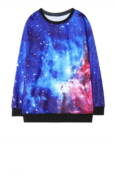 Starry sky print long sleeve sweatshirt with contrast trim