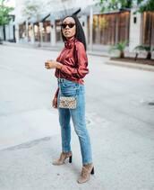top,blouse,silk,jeans,booties,crossbody bag,mini bag,sunglasses,earrings