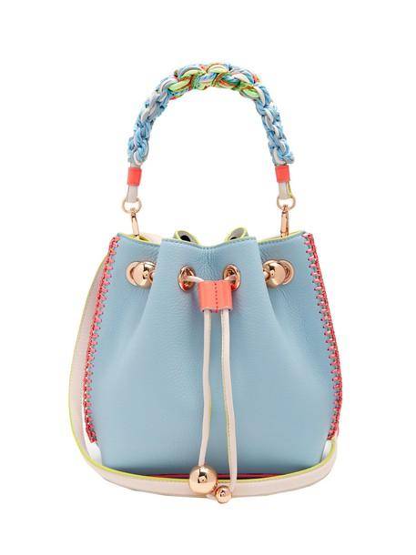 Sophia Webster mini drawstring bag bucket bag leather blue
