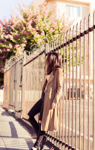 the golden diamonds blogger camel coat coat jeans top sunglasses