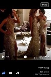 dress,gold,prom,formal,floor length,sparkle