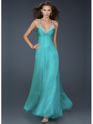 Buy Elegant A-line Spaghetti Straps Neckline Beadings Chiffon Floor Length Prom Dress  under 200-SinoAnt.com