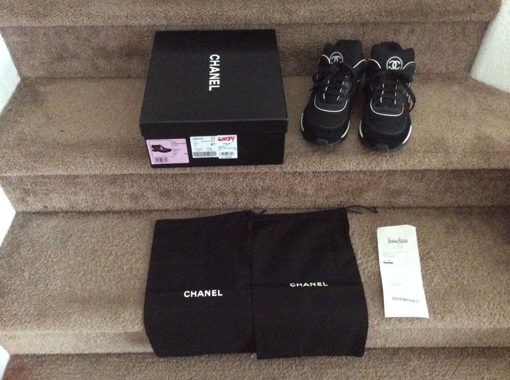 Chanel Black White Sneakers Original Chanel Box Original Receipt Dust Bags | eBay