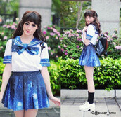 dress,school uniform,school girl,japan,japanese fashion,japanese,asian,asian fashion,galaxy print,blue,blue skirt,galaxy skirt,uniforms,kawaii,anime,weeaboo,otaku