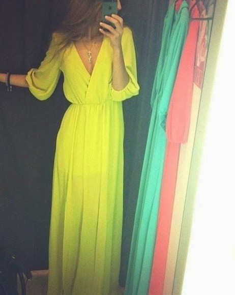 dress yellow dress long sleeve dress deep v neck