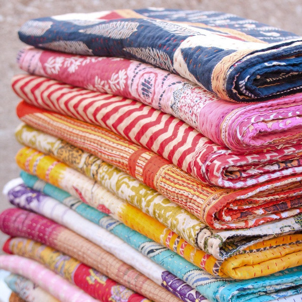 Home Accessory Kantha Throw Holiday Gift Indian Quilt Handmade Blanket Cheap Blanket Table Runner Quilted Bedspread Holiday Gift Wheretoget