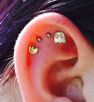 jewels pacman ghosts 90's kid video games stud earrings cartilage piercing cartilage earring cute jewelry
