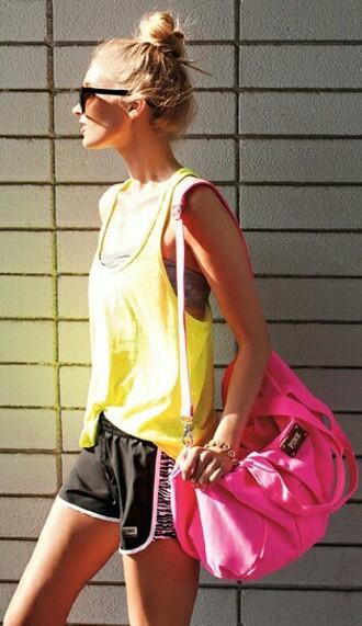 bag pink gym bag tote bag sportswear shorts gym gym clothes black yellow tank top