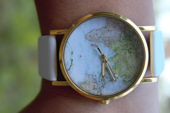 New leather world map watch for women
