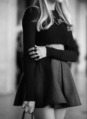 skirt leather skirt black long sleeves crop tops