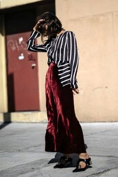 pants,cropped velvet pants,burgundy,cropped pants,wide-leg pants,shoes,mules,black shoes,mid heel sandals,pointed toe,velvet pants,red pants,shirt,striped shirt,silk shirt,silk,velvet,wide-leg velvet pants,cropped wide-leg velvet pants