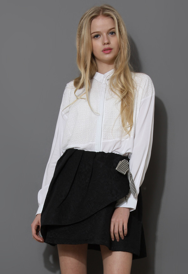 blouse white shirt grid front