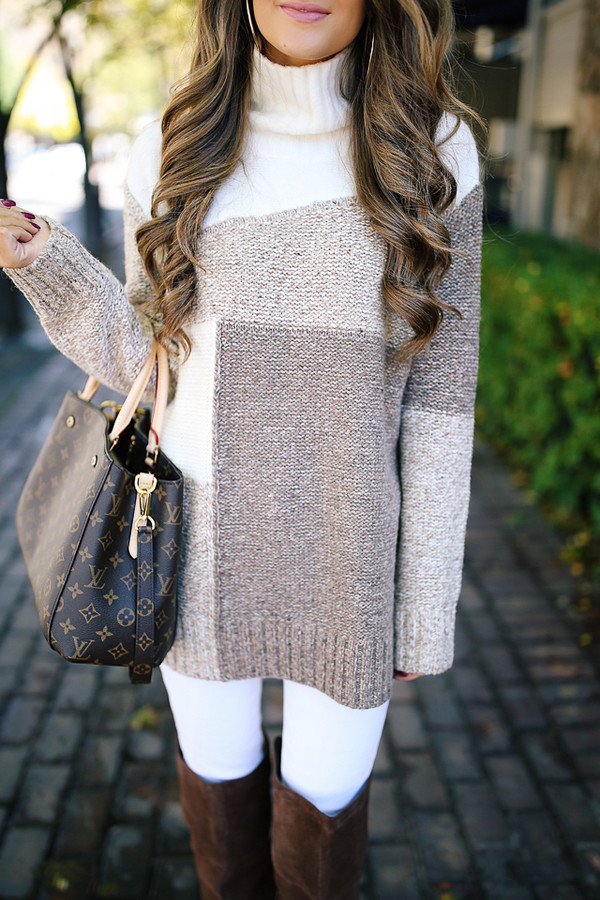 sweater tumblr turtleneck turtleneck sweater knit knitted sweater denim jeans white jeans beige abstract colorblock tan cream