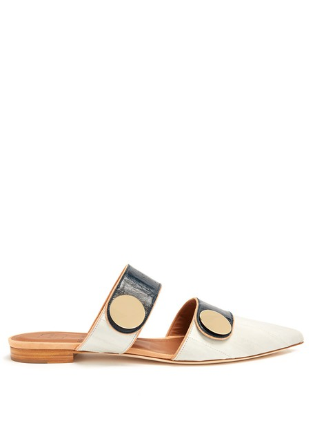 MALONE SOULIERS backless flats leather flats leather grey shoes