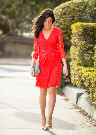 classy girls with pearls blogger dress red dress lace dress
