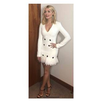 dress white dress holly willoughby feathers